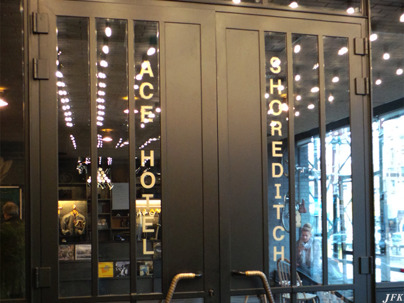 Designed and fitted a Bespoke Vinyl Gold Lettering Sign, for our customer the Ace Hotel, who is based in  London.